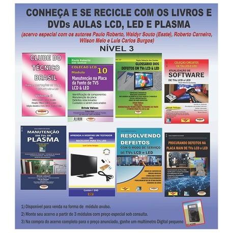 Livros e DVDs aulas para TVs LCD, LED e Plasma. Nível 3