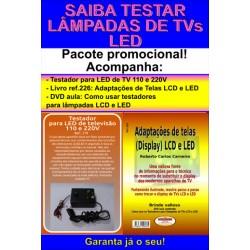 Testador para LED de televisão 110 e 220V e livro Adaptações de Telas para TVs LCD e LED