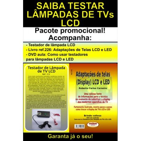 Testador de lâmpada CCFL de tv lcd e livro com dicas de Adaptações de Telas em TVs LCD e LED