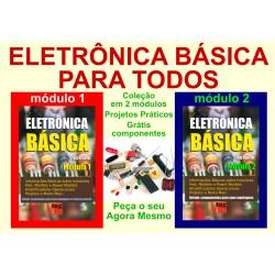 Livros Eletrônica Básica com 2 módulos e componentes de Brinde