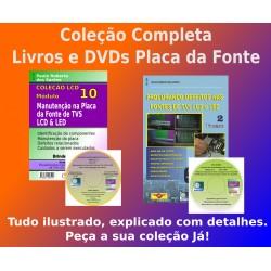 Livros e DVDs aula Placa da Fonte TVs LCD.Col.Completa