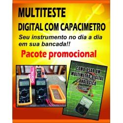 Multiteste com Capacímetro e Livro Como Usar o Multímetro Digital e Analógico