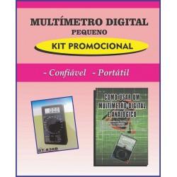 Multímetro Digital Pequeno e Livro Como Usar um Multímetro Digital e Analógico.