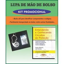 Lupa de bolso e livro Entendendo e Conhecendo Circuitos de Proteção.